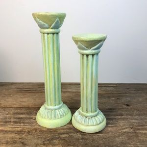 Pier 1 Upcycled Pair Wooden Painted Candlesticks